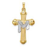 14k two-tone gold draped cross pendant