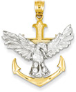 14K Two-Tone Gold Mariner Eagle Cross Necklace