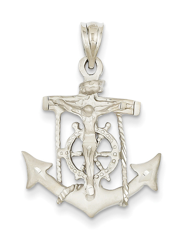 14K White Gold Mariner Anchor Cross Pendant