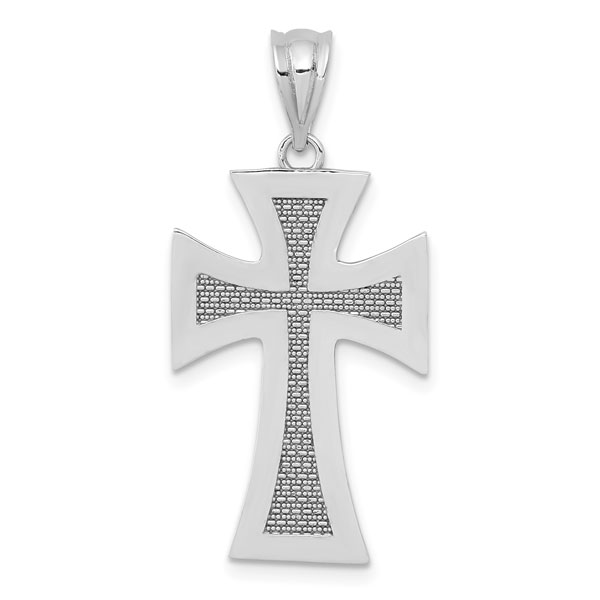 14K White Gold Medieval Cross Pendant