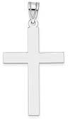 14K White Gold Plain Cross Pendant for Men