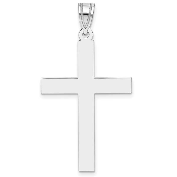 14K White Gold Plain Cross Pendant for Men