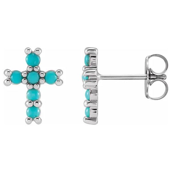 14k white gold turquoise cross earrings
