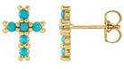 6-stone turquoise cross earrings in 14k gold