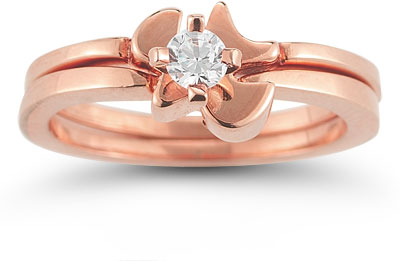 Holy Spirit Dove Diamond Bridal Ring Set in 14K Rose Gold