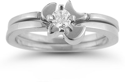 Holy Spirit Dove Diamond Bridal Ring Set in 14K White Gold