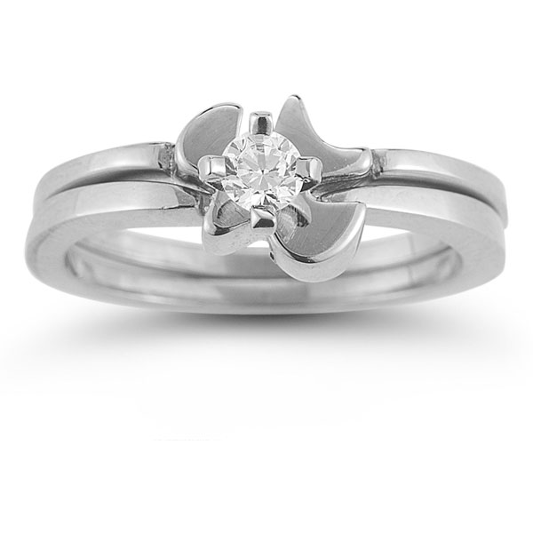 Holy Spirit Dove Cubic Zirconia Bridal Ring Set in 14K White Gold