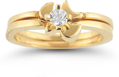 Holy Spirit Dove Cubic Zirconia Bridal Ring Set in 14K Yellow Gold