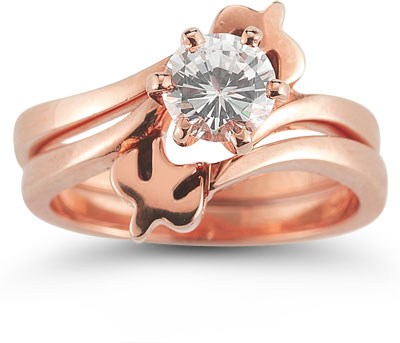Holy Spirit Dove Diamond Bridal Engagement Ring Set, 14K Rose Gold