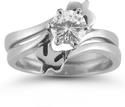 Holy Spirit Dove CZ Engagement Ring Set, 14K White Gold