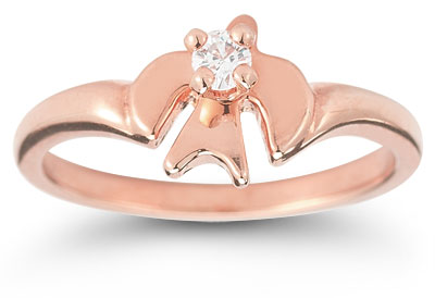Holy Spirit Dove Cubic Zirconia Ring in 14K Rose Gold