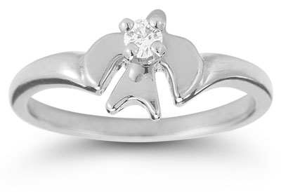 Holy Spirit Dove Diamond Ring in 14K White Gold