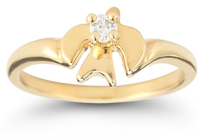 Holy Spirit Dove Cubic Zirconia Ring in 14K Yellow Gold