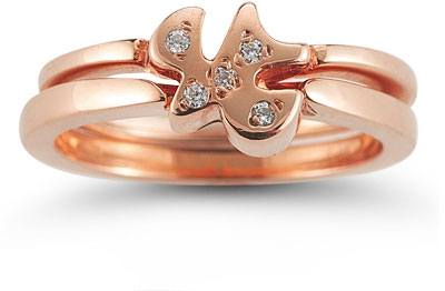 Holy Spirit Dove Diamond Engagement Ring Set in 14K Rose Gold