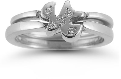 Holy Spirit Dove CZ Engagement Ring Set in 14K White Gold