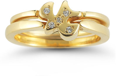 Holy Spirit Dove Diamond Engagement Ring Set in 14K Yellow Gold