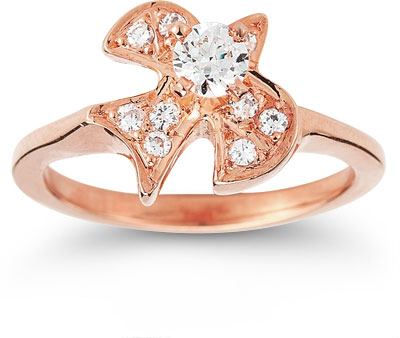 Christian Dove CZ Ring in 14K Rose Gold
