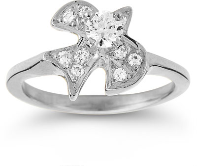 Christian Dove Diamond Ring in 14K White Gold