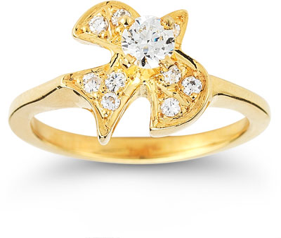 Christian Dove CZ Ring in 14K Yellow Gold
