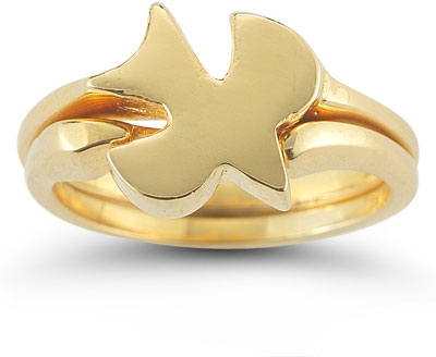 Christian Dove Bridal Wedding Ring Set in 14K Yellow Gold
