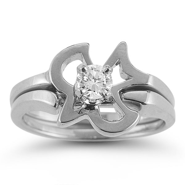 Christian Dove Diamond Bridal Wedding Ring Set in 14K White Gold
