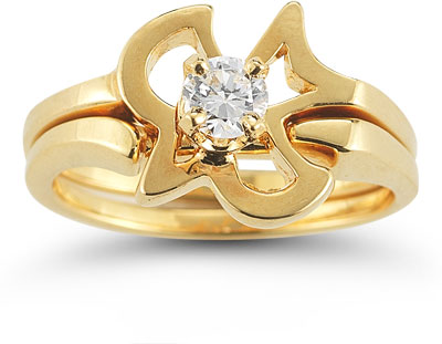 Christian Dove CZ Engagement and Wedding Ring Set in 14K Yellow Gold