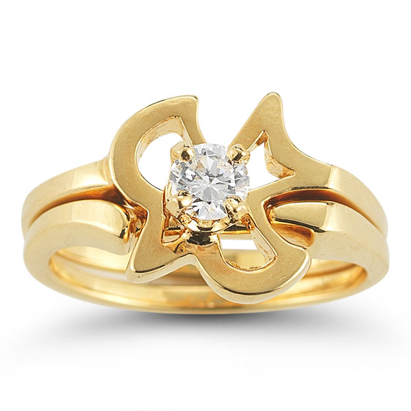 christian dove diamond engagement and wedding ring set in 14k yellow gold - Christian Wedding Rings