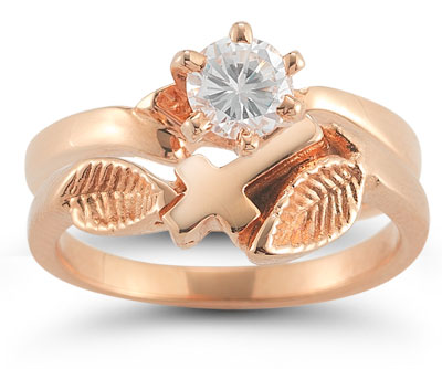 Christian Cross Diamond Bridal Wedding Ring Set in 14K Rose Gold