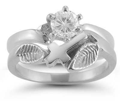 Christian Cross CZ Bridal Wedding Ring Set in 14K White Gold