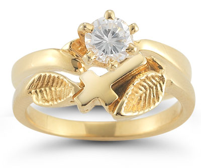 Christian Cross Diamond Bridal Wedding Ring Set in 14K Yellow Gold