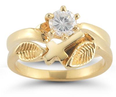 Christian Cross CZ Bridal Wedding Ring Set in 14K Yellow Gold