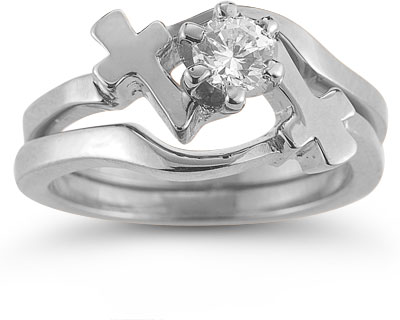 Cross CZ Engagement and Wedding Ring Bridal Set in 14K White Gold