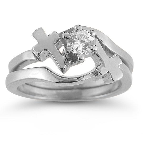 diamond cross engagement and wedding ring bridal set in 14k white gold - Cross Wedding Rings