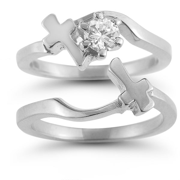 diamond cross engagement and wedding ring bridal set in 14k white gold - Cross Wedding Rings