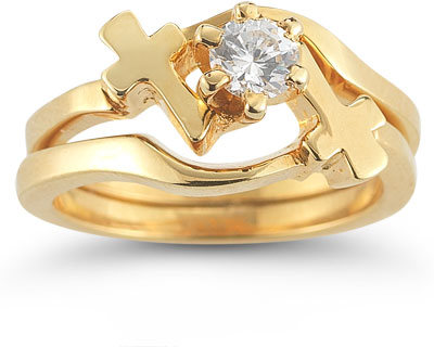 Diamond Cross Wedding Ring Bridal Set in 14K Yellow Gold