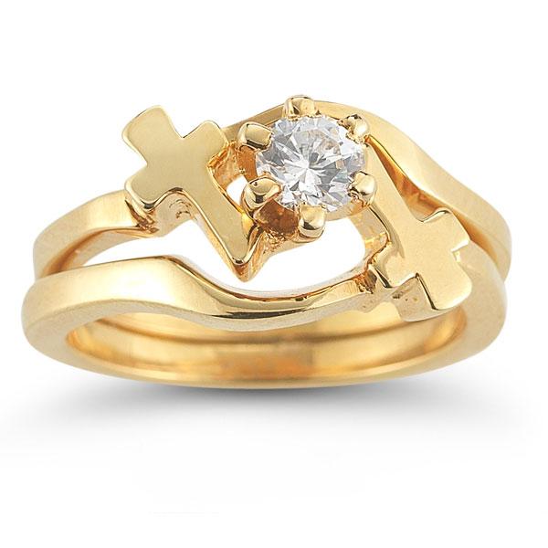 Diamond Cross Wedding Ring Bridal Set in 14K Yellow Gold