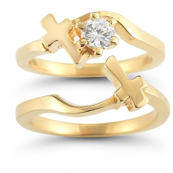 diamond cross wedding ring bridal set in 14k yellow gold - Christian Wedding Rings