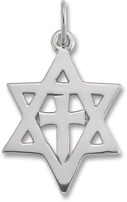 Star of David Cross Pendant in 14K White Gold