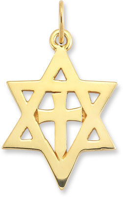 Star of David Cross Pendant in 14K Yellow Gold