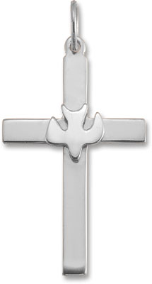 Christian Dove Cross Pendant in 14K White Gold