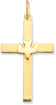 Christian Dove Cross Pendant in 14K Yellow Gold