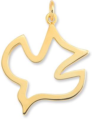 Christian Dove Holy Spirit Pendant in 14K Yellow Gold