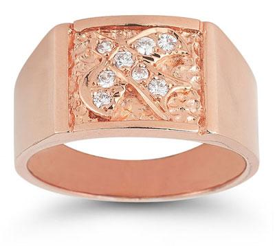 Christian Dove Diamond Holy Spirit Ring in 14K Rose Gold