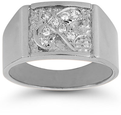 Christian Dove Holy Spirit CZ Ring in 14K White Gold