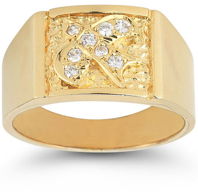 Christian Dove CZ Holy Spirit Ring in 14K Yellow Gold