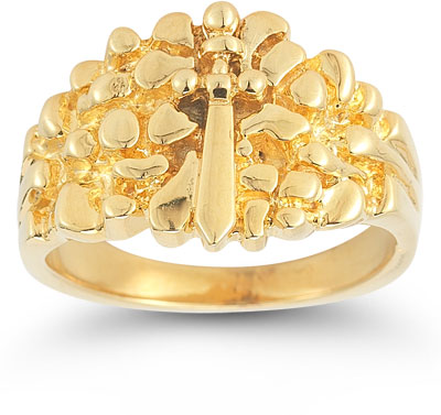 Sword of God Mens Nugget Ring in 14K Yellow Gold