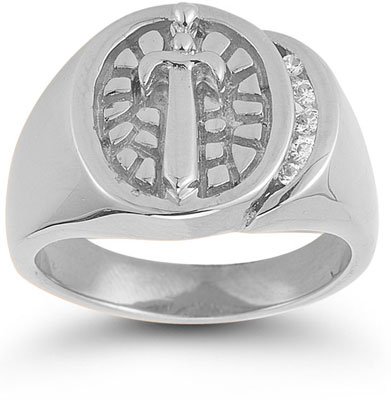 Sword and Shield CZ Nugget Ring in 14K White Gold
