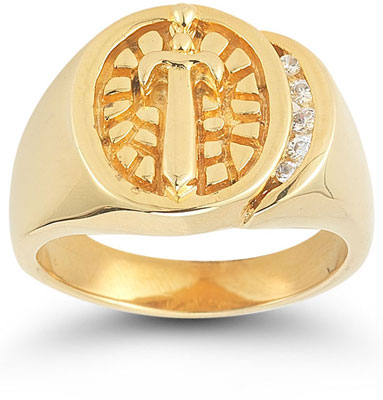 Sword and Shield CZ Nugget Ring in 14K Yellow Gold