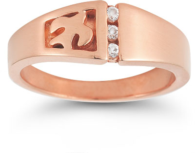 Christian Dove Diamond Trinity Ring in 14K Rose Gold