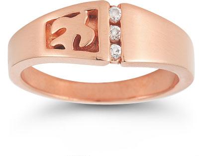 Christian Dove Diamond Trinity Ring in 14K Rose Gold